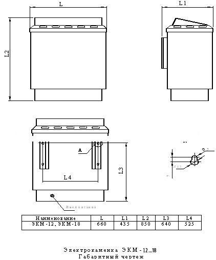 Электрокаменка для бань и саун ЭКМ 1-12