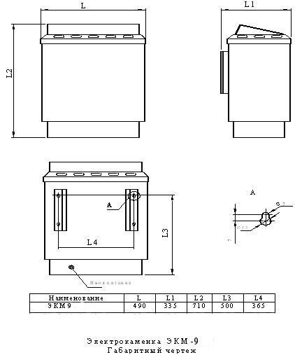 Электрокаменка для бань и саун ЭКМ 1-9